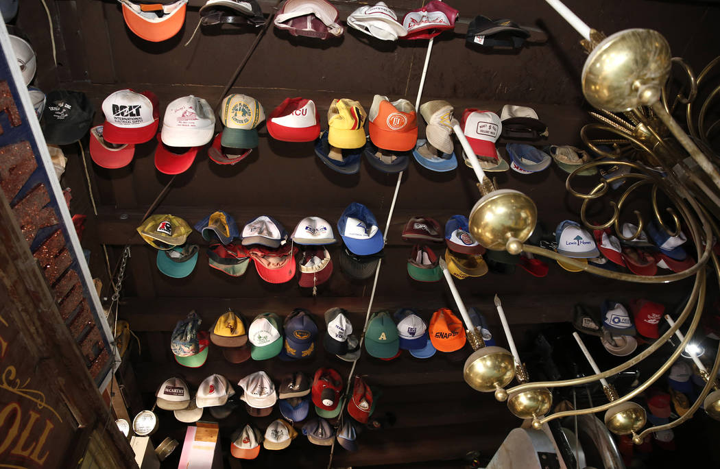 Former Lt. Gov. Dr. Lonnie Hammargren's collection of hats are displayed during a tour of his Las Vegas home at 4300 Ridgercrest Drive, Thursday, Oct. 26, 2017. Bizuayehu Tesfaye Las Vegas Review- ...