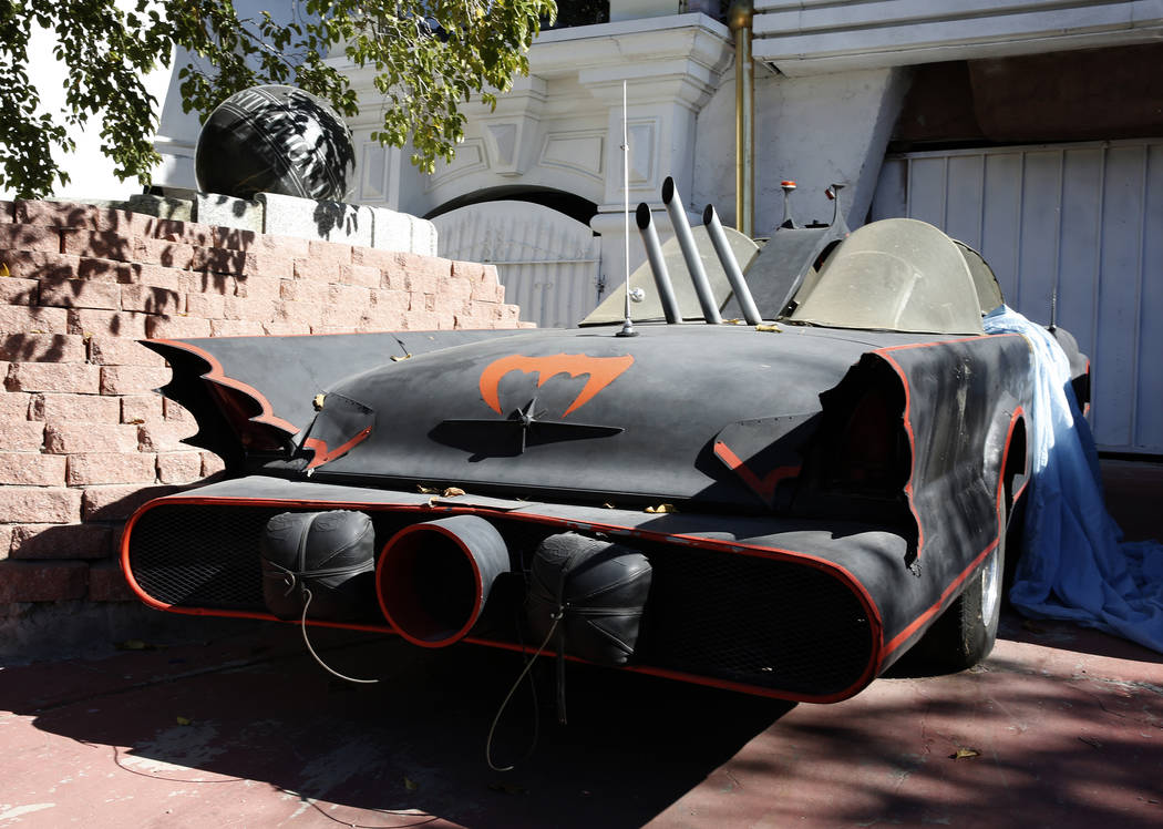 The Batmobile Is Parked outside former Lt. Gov. Dr. Lonnie Hammargren's Las Vegas home at 4300 Ridgercrest Drive, Thursday, Oct. 26, 2017. Bizuayehu Tesfaye Las Vegas Review-Journal @bizutesfaye