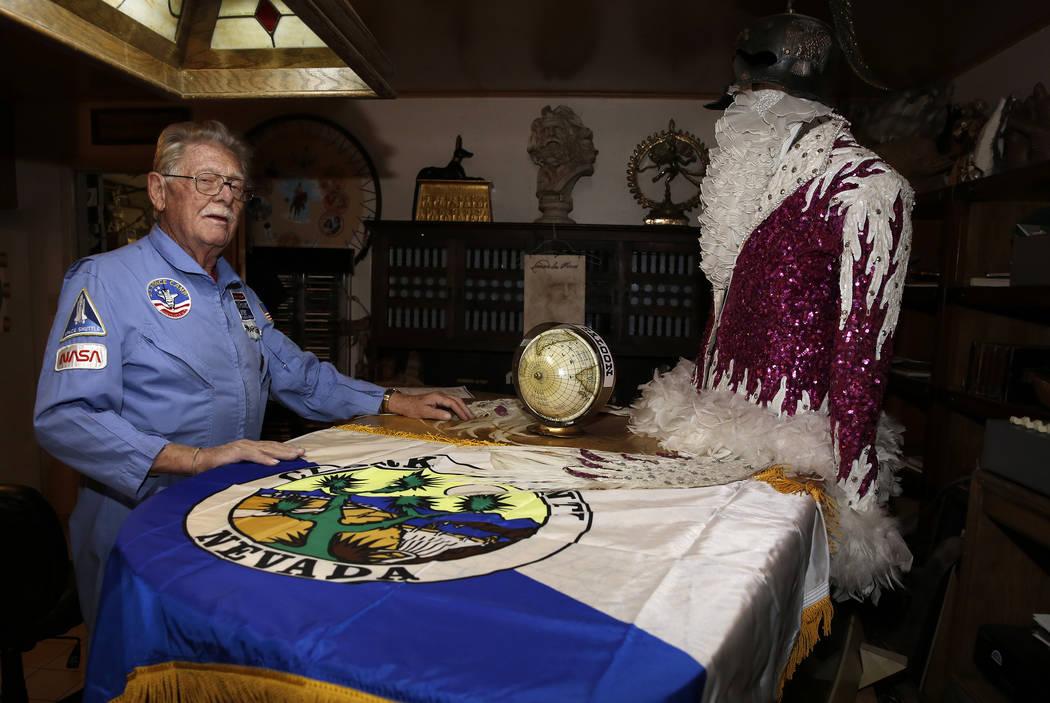 Former Lt. Gov. Dr. Lonnie Hammargren talks about the original Clark County flag during a tour of his Las Vegas home at 4300 Ridgercrest Drive, Thursday, Oct. 26, 2017. Bizuayehu Tesfaye Las Vegas ...