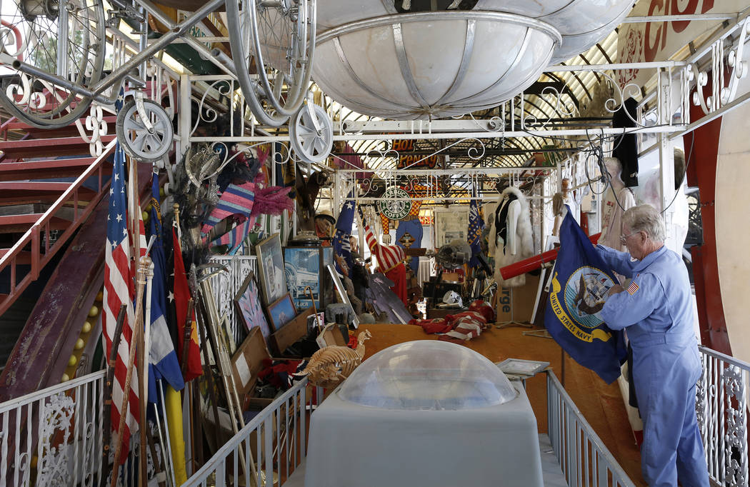 Former Lt. Gov. Dr. Lonnie Hammargren talks about his collection of flags during a tour of his Las Vegas home at 4300 Ridgercrest Drive Thursday, Oct. 26, 2017. Bizuayehu Tesfaye Las Vegas Review- ...
