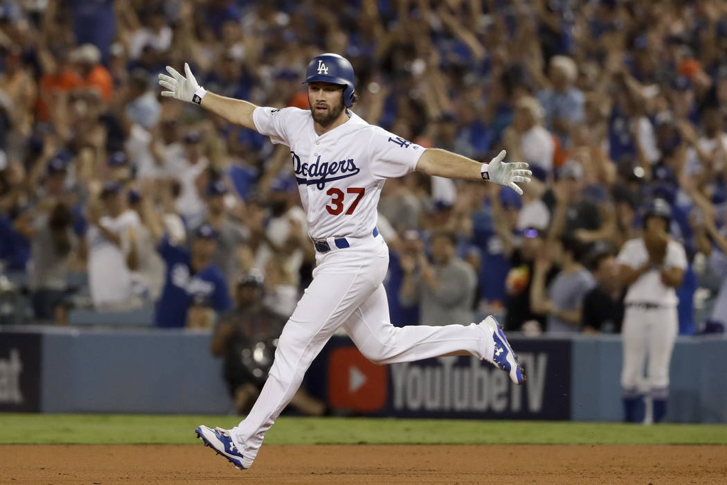 a456a507fbfdc Los Angeles Dodgers  Charlie Culberson celebrates after a home run against  the Houston Astros during