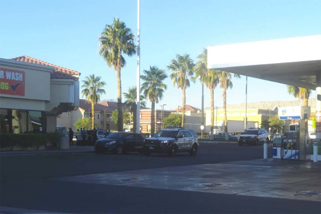 Las Vegas police are investigating after a man was found shot to death in a car at a Terrible's gas station at Durango Drive and Flamingo Road, Thursday morning, Oct. 26, 2017. (Max Michor/Las Veg ...