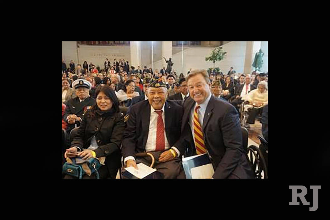 Regalado Baldonado, 90, with sister, Charmaine, and Sen. Dean Heller, R-Nev., at Congressional Gold Medal ceremony at the U.S. Capitol to recognize WWII Filipino-American veterans. (Courtesy photo)