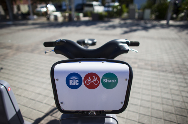 A detail of a bike is shown at a Regional Transportation Commission bike share kiosk in the Arts District area of downtown Las Vegas Oct. 11, 2016. Chase Stevens/View Follow @csstevensphoto