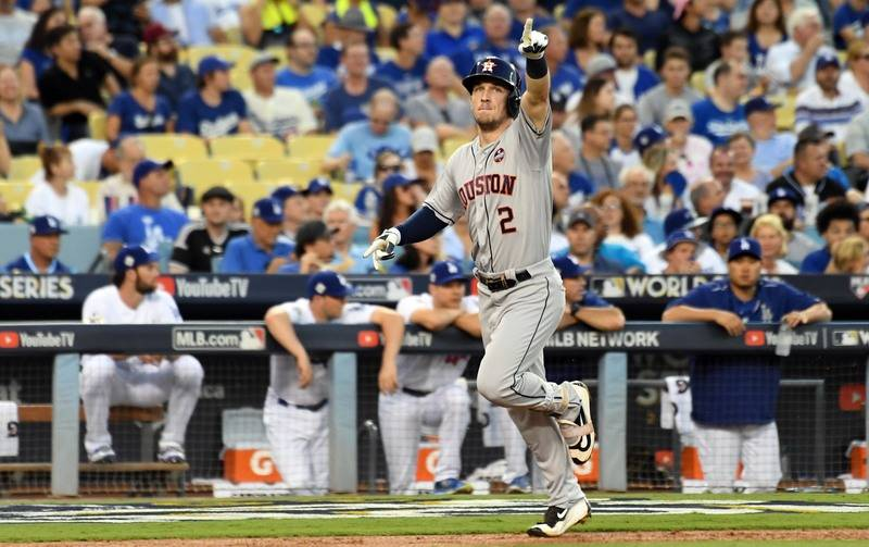 Oct 24, 2017; Los Angeles, CA, USA; Houston Astros third baseman Alex Bregman (2) celebrates as he runs home on a solo home run against the Los Angeles Dodgers in the fourth inning in game one of  ...