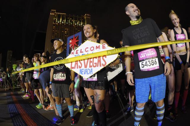 Participants wait for their signal to start during the Geico Las Vegas Rock 'n' Roll Marathon on Sunday, Nov. 13, 2016, on the Las Vegas Strip. (Sam Morris/Las Vegas News Bureau)