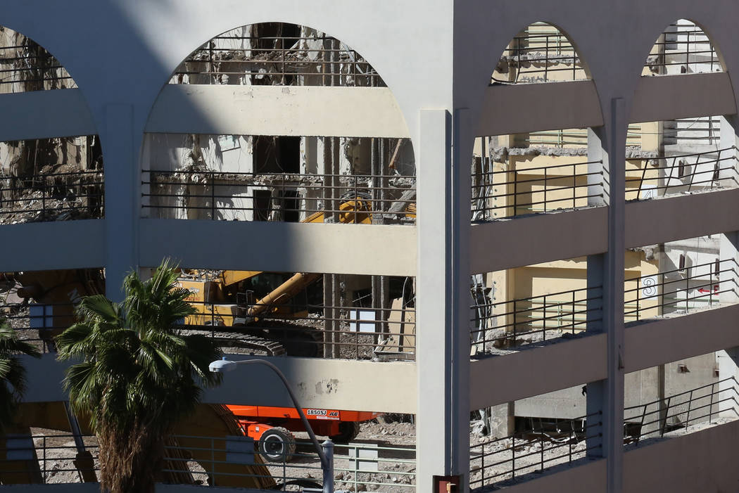 Work is underway to demolish the historic Las Vegas Club in downtown Friday, Oct. 27, 2017, to make way for the construction of the new hotel and casino. The Las Vegas Club opened in 1930, a year  ...