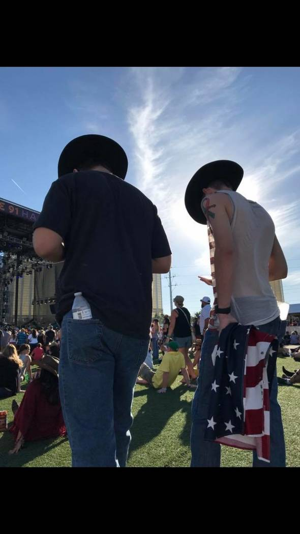 Jake Schmidt (right) and his friend Brandon Bueno on Sunday, Oct. 1 at Route 91 Harvest Festival. Photo courtesy of Jake Schmidt.