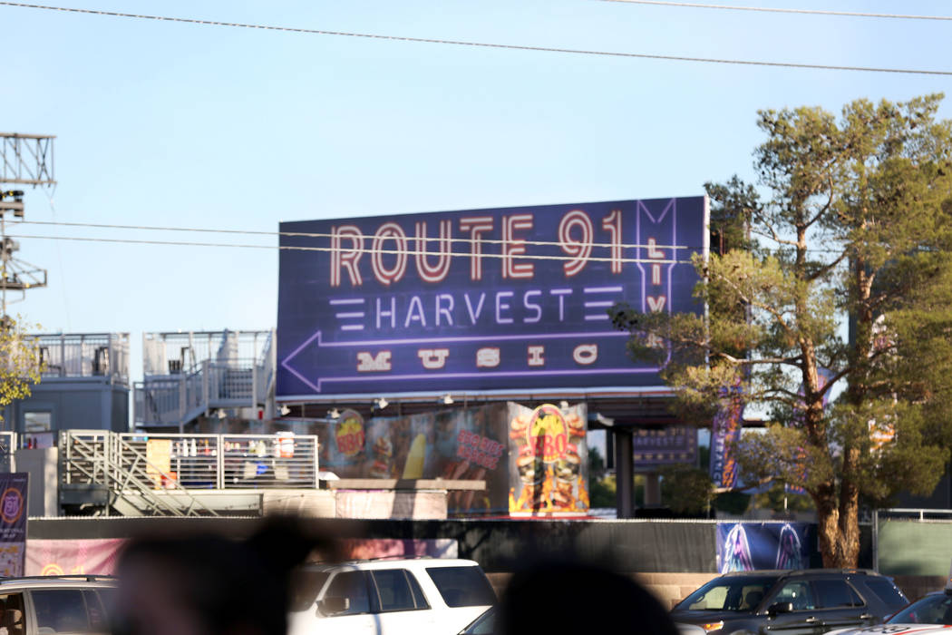 The Route 91 Harvest Festival grounds still stand in Las Vegas, Saturday, Oct. 7, 2017, while the FBI collects belongings left by those who attended the festival the night of the shooting. Elizabe ...