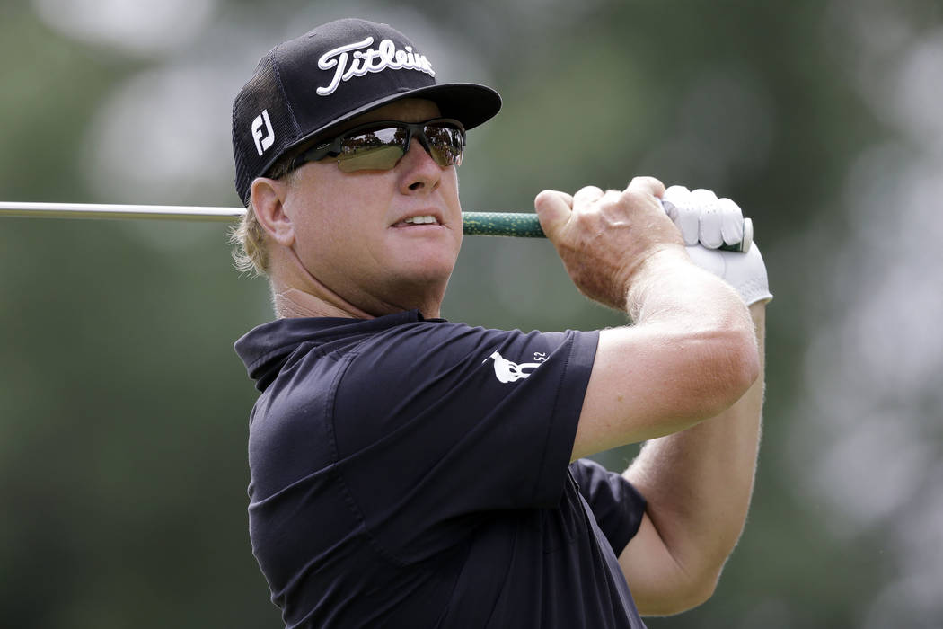 Charley Hoffman tees off on the third hole during the final round of the Bridgestone Invitational golf tournament at Firestone Country Club, Sunday, Aug. 6, 2017, in Akron, Ohio. (AP Photo/Tony Dejak)