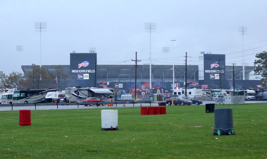 RVs and cars start arriving to New Era Field for some early tailgating in Orchard Park, New York, Saturday, Oct. 28, 2017. Heidi Fang Las Vegas Review-Journal @HeidiFang