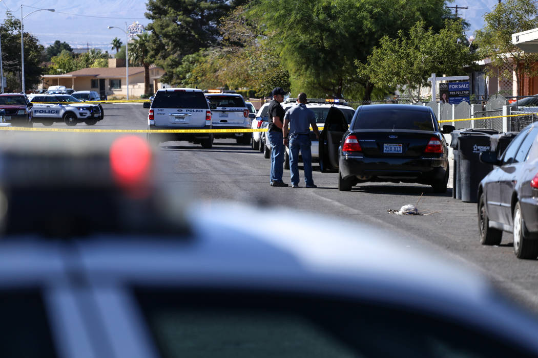 The scene of a homicide on Hassell Avenue near Comstock Drive in North Las Vegas, Friday, Oct. 27, 2017. Joel Angel Juarez Las Vegas Review-Journal @jajuarezphoto