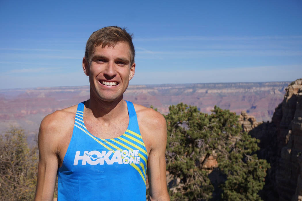 This Sunday, Oct. 1, 2017, photo provided by HOKA One One shows professional trail runner Tim Freriks, 26, who broke the single crossing record (rim-to-rim, or R2R) in the Grand Canyon, Arizona. F ...