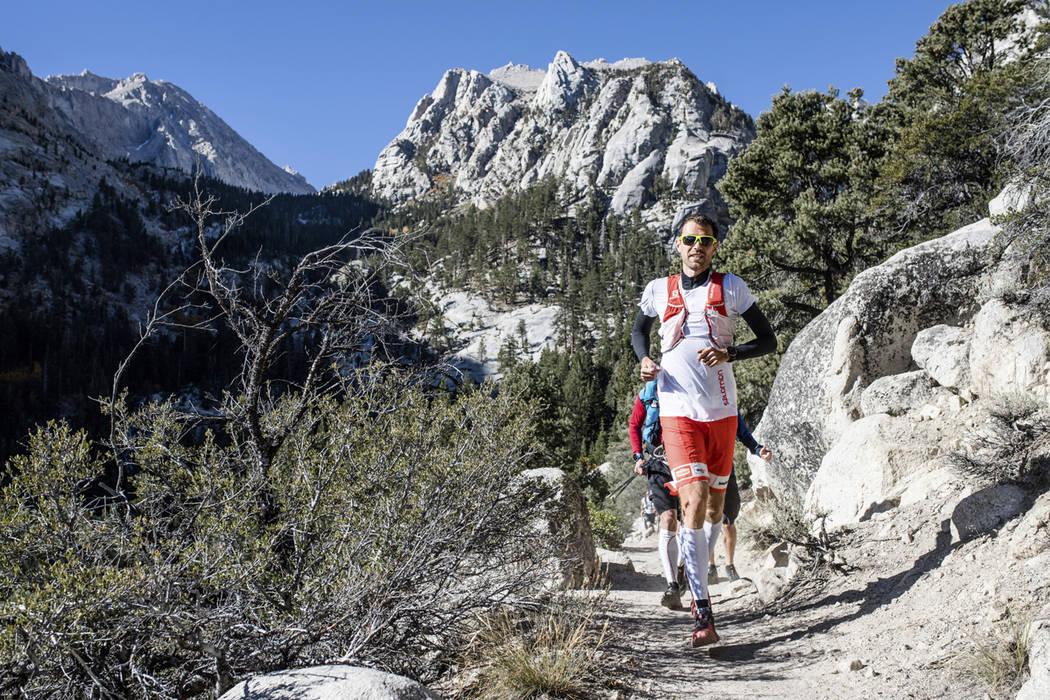 This Sunday, Oct. 15, 2017, photo provided by Salomon, shows professional trail runner Francois D'haene running on the John Muir Trail in the California Sierra Nevada mountain range. D'haene, a Fr ...