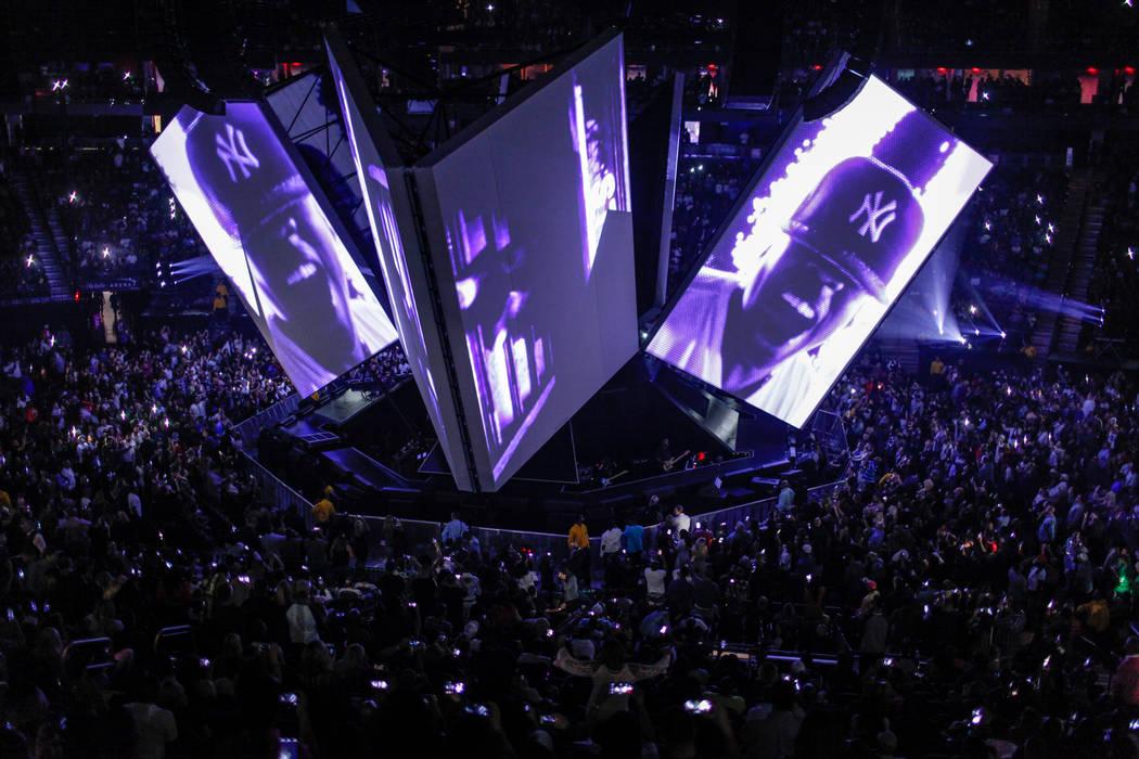 "Screens project faces of rapper Jay-Z during his ""4:44"" Tour at the T-Mobile Arena in Las Vegas, Saturday, Oct. 28, 2017. Joel Angel Juarez Las Vegas Review-Journal @jajuarezphoto"