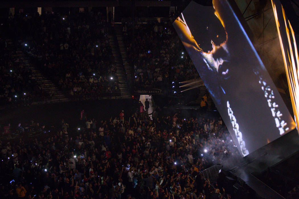 """A screen projects the face of rapper Jay-Z during his """"4:44"""" Tour at the T-Mobile Arena in Las Vegas, Saturday, Oct. 28, 2017. Joel Angel Juarez Las Vegas Review-Journal @jajuare ..."""