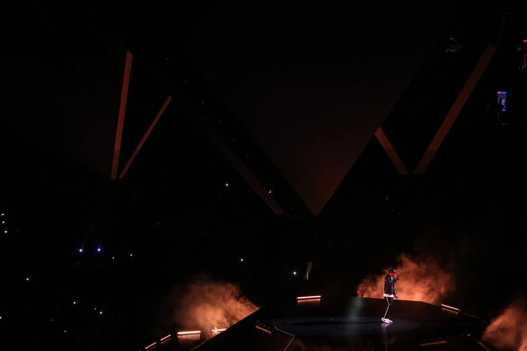 "Rapper Jay-Z performs in concert during his ""4:44"" Tour at the T-Mobile Arena in Las Vegas, Saturday, Oct. 28, 2017. Joel Angel Juarez Las Vegas Review-Journal @jajuarezphoto"