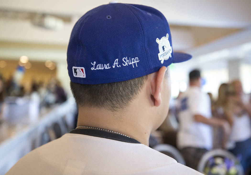 Corey Shipp, son of Route 91 Harvest shooting victim Laura Shipp, wears a Los Angeles Dodgers hat with his mother's name embroidered on it during a memorial service for Shipp in Westlake Village,  ...