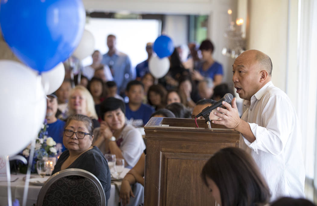 Steve Shipp, brother of Route 91 Harvest shooting victim Laura Shipp, speaks during a memorial service for his sister in Westlake Village, Calif., Sunday, Oct. 29, 2017. Richard Brian Las Vegas Re ...