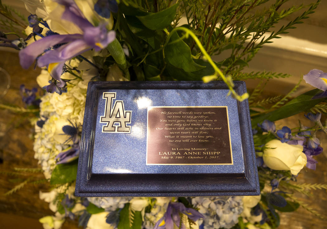 A Los Angeles Dodgers themed cremation urn bearing the remains of Route 91 Harvest shooting victim Laura Shipp on display during a memorial service for Shipp in Westlake Village, Calif., Sunday, O ...