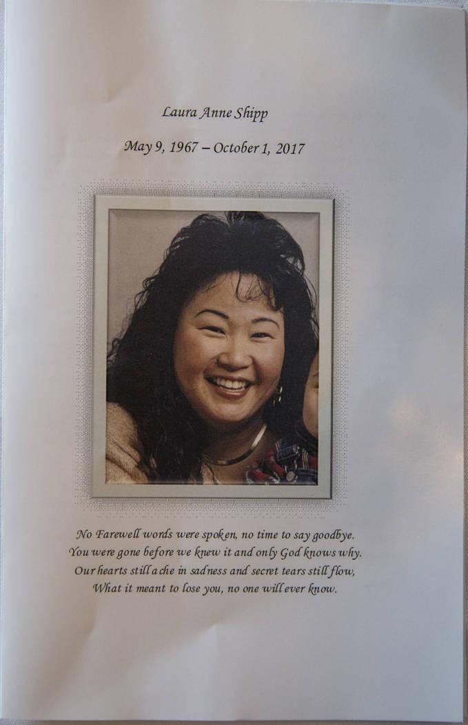 A program pamphlet for the memorial service of Route 91 Harvest shooting victim Laura Shipp in Westlake Village, Calif., Sunday, Oct. 29, 2017. Richard Brian Las Vegas Review-Journal @vegasphotograph