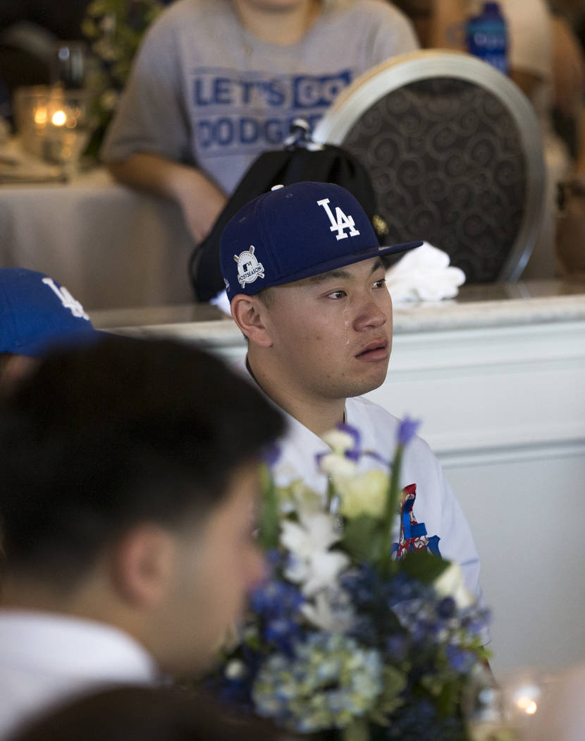 Corey Shipp, son of Route 91 Harvest shooting victim Laura Shipp, sheds tears during a memorial service for his mother in Westlake Village, Calif., Sunday, Oct. 29, 2017. Richard Brian Las Vegas R ...