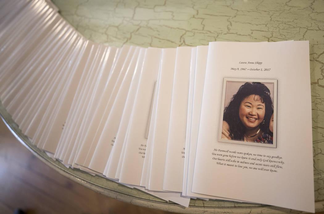 Program pamphlets for the memorial service of Route 91 Harvest shooting victim Laura Shipp in Westlake Village, Calif., Sunday, Oct. 29, 2017. Richard Brian Las Vegas Review-Journal @vegasphotograph
