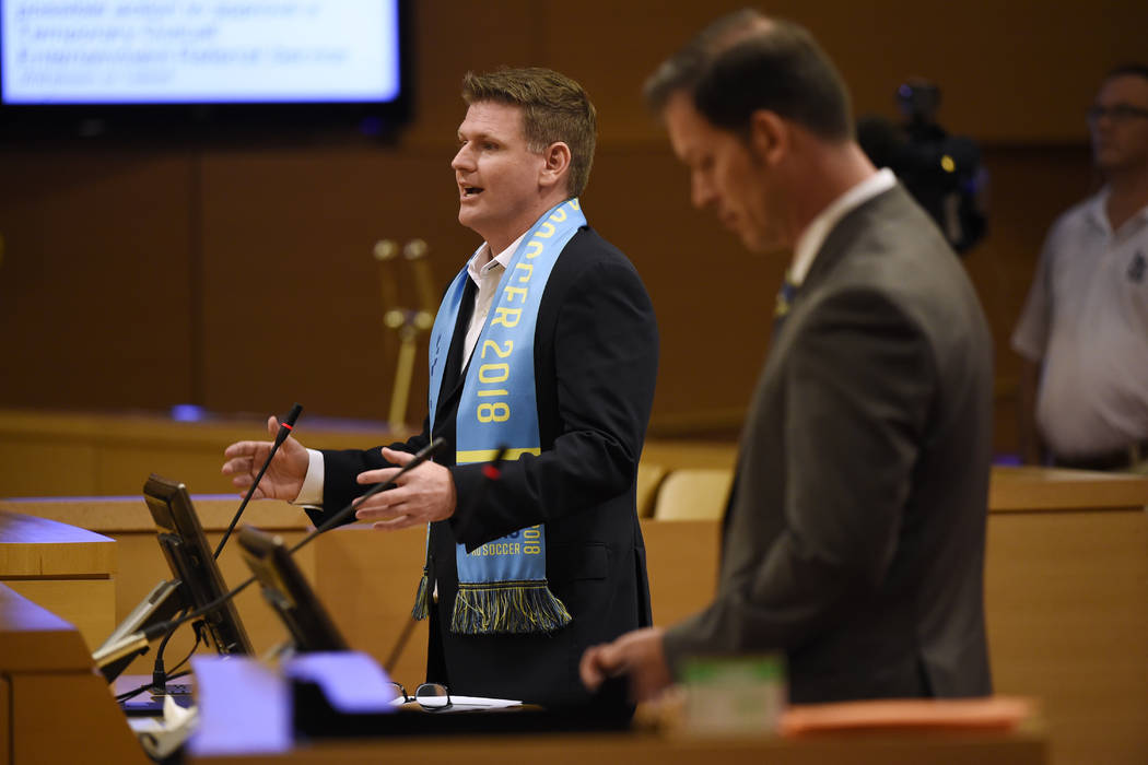 Founder and President of Las Vegas Soccer LLC. Brett Lashbrook makes his presentation during a meeting of the Las Vegas City Council Wednesday, July 19, 2017. Sam Morris/Las Vegas News Bureau