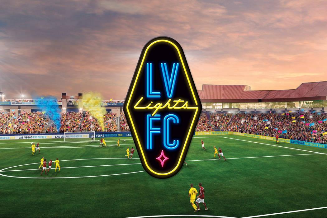 Las Vegas Lights FC logo and rendering of field at Cashman Center. (Las Vegas Lights FC)