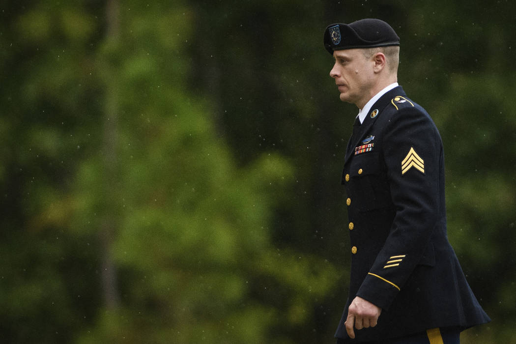 Sgt. Bowe Bergdahl returns to the Fort Bragg courthouse after a lunch break on Monday, Oct. 16, 2017, on Fort Bragg, N.C. Bergdahl, who walked off his base in Afghanistan in 2009 and was held by t ...