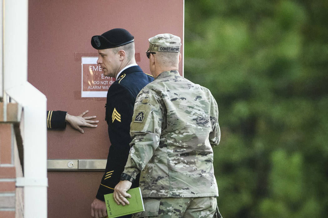 Army Sgt. Bowe Bergdahl arrives at the Fort Bragg courthouse for a sentencing hearing on Thursday, Oct. 26, 2017, on Fort Bragg, N.C. Bergdahl, who walked off his base in Afghanistan in 2009 and w ...
