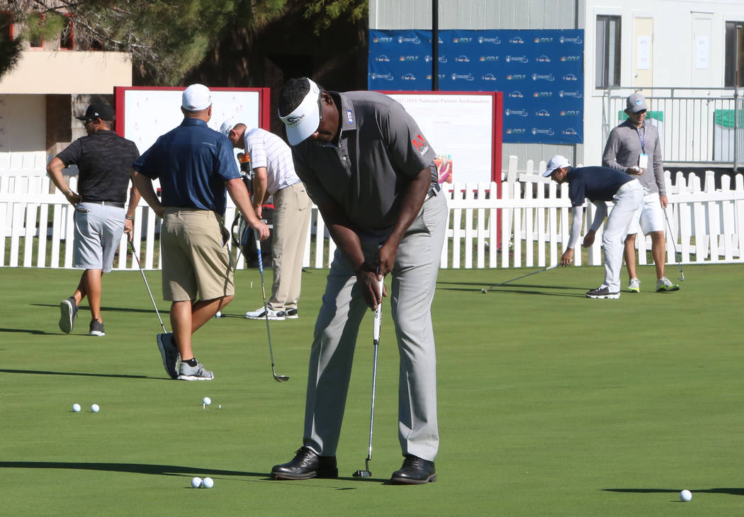 Vijay Singh of Fiji practices his putting as he prepares for the Shrine Hospitals for Children Open golf tournament at TPC Summerlin Tuesday, Oct. 31, 2017, in Las Vegas. Bizuayehu Tesfaye/Las Veg ...