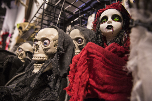 ghouls and goblin decorations line the hallways at halloween mart on thursday sept 29