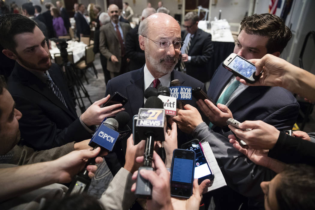 Pennsylvania Gov. Tom Wolf speaks with members of the media at aPennsylvania Press Club luncheon in Harrisburg, Pa., Monday, Oct. 30, 2017. Wolf has approved legislation authorizing a major expans ...