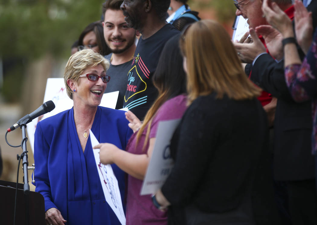 Clark County Commissioner Chris Giunchigliani announces her campaign for governor outside of Las Vegas Academy in downtown Las Vegas on Wednesday, Oct. 18, 2017. Chase Stevens Las Vegas Review-Jou ...