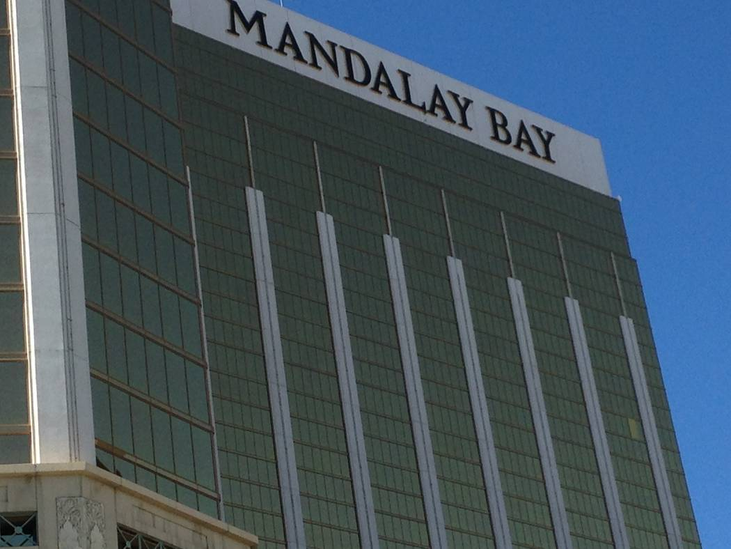 A broken window is covered at Mandalay Bay in Las Vegas, as seen Friday, Oct. 6, 2017. Eli Segall/Las Vegas Review-Journal