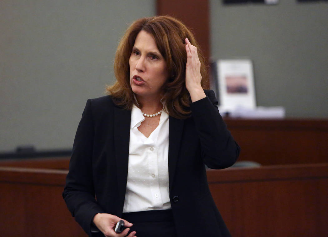 Prosecutor Pam Weckerly delivers her opening statment at the Regional Justice Center Tuesday, Oct. 31, 2017, in the trial of Bryan Clay, accused of raping and killing a woman and her 10-year daugh ...
