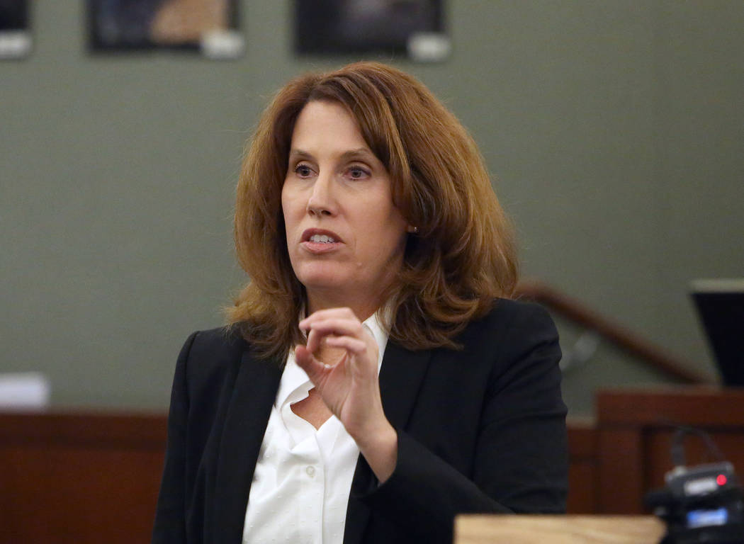 Prosecutor Pam Weckerly delivers her opening statement at the Regional Justice Center Tuesday, Oct. 31, 2017, in the trial of Bryan Clay, accused of raping and killing a woman and her 10-year daug ...