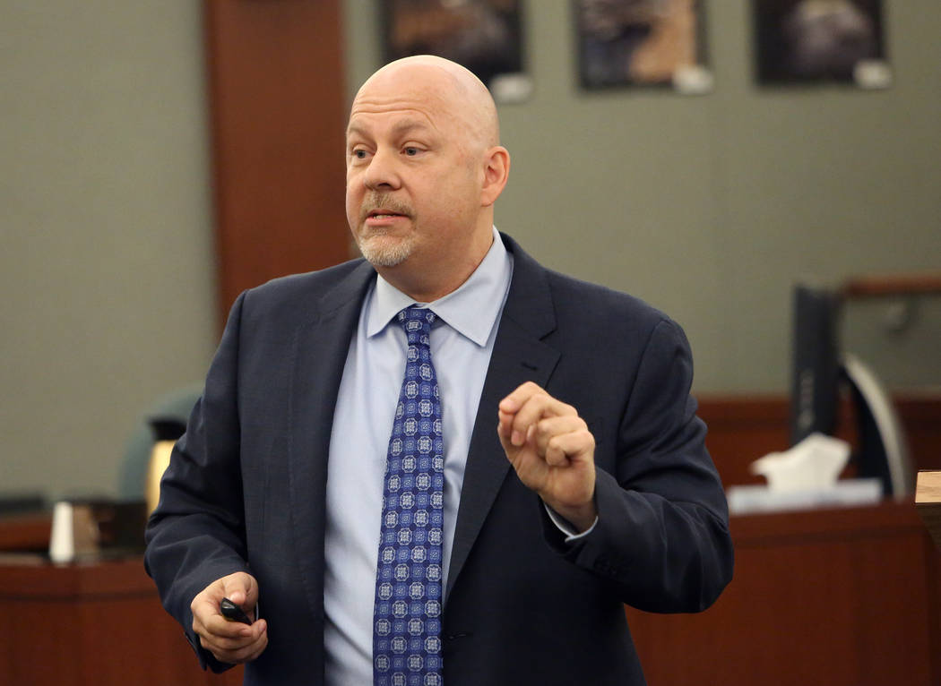 Defense attorney, Tony Sgro delivers his opening statement at the Regional Justice Center Tuesday, Oct. 31, 2017, in the trial of Bryan Clay, accused of raping and killing a woman and her 10-year  ...