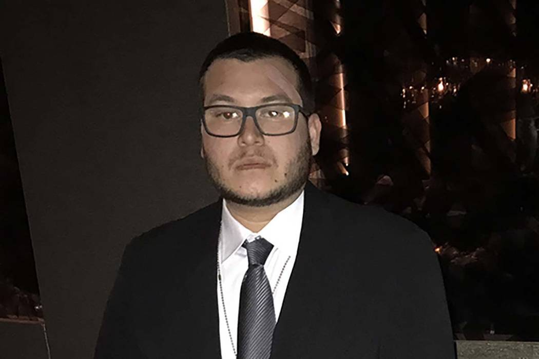 Jesus Campos, the Mandalay Bay security guard who first encountered mass shooter Stephen Paddock on Oct. 1 in the Las Vegas hotel. (International Union, Security, Police and Fire Professionals of  ...