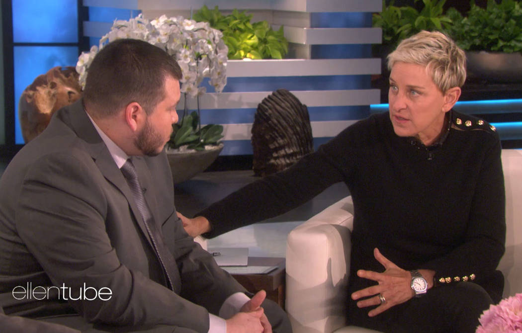 Ellen Degeneres, right, sits down with Mandalay Bay security officer Jesus Campos, who was one of the first people to encounter Stephen Paddock on the night of the Las Vegas shooting. Warner Bros.