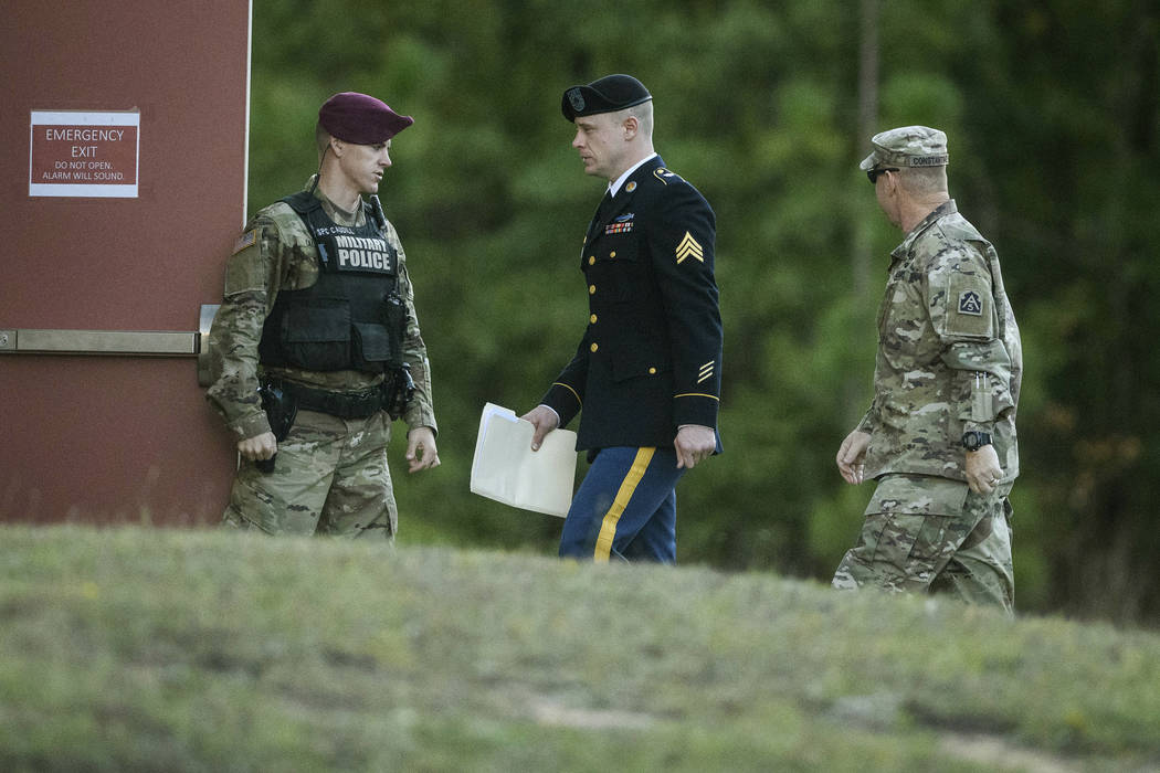 Army Sgt. Bowe Bergdahl arrives at the Fort Bragg courtroom facility for a sentencing hearing on Monday, Oct. 30, 2017, on Fort Bragg, N.C. Bergdahl, who walked off his base in Afghanistan in 2009 ...
