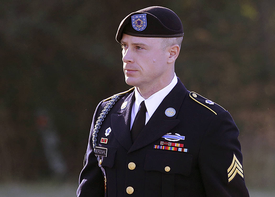 Army Sgt. Bowe Bergdahl arrives for a pretrial hearing at Fort Bragg, N.C., Jan. 12, 2016. Former Navy SEAL James Hatch who testified this week at Bergdahl's sentencing hearing on charges he end ...