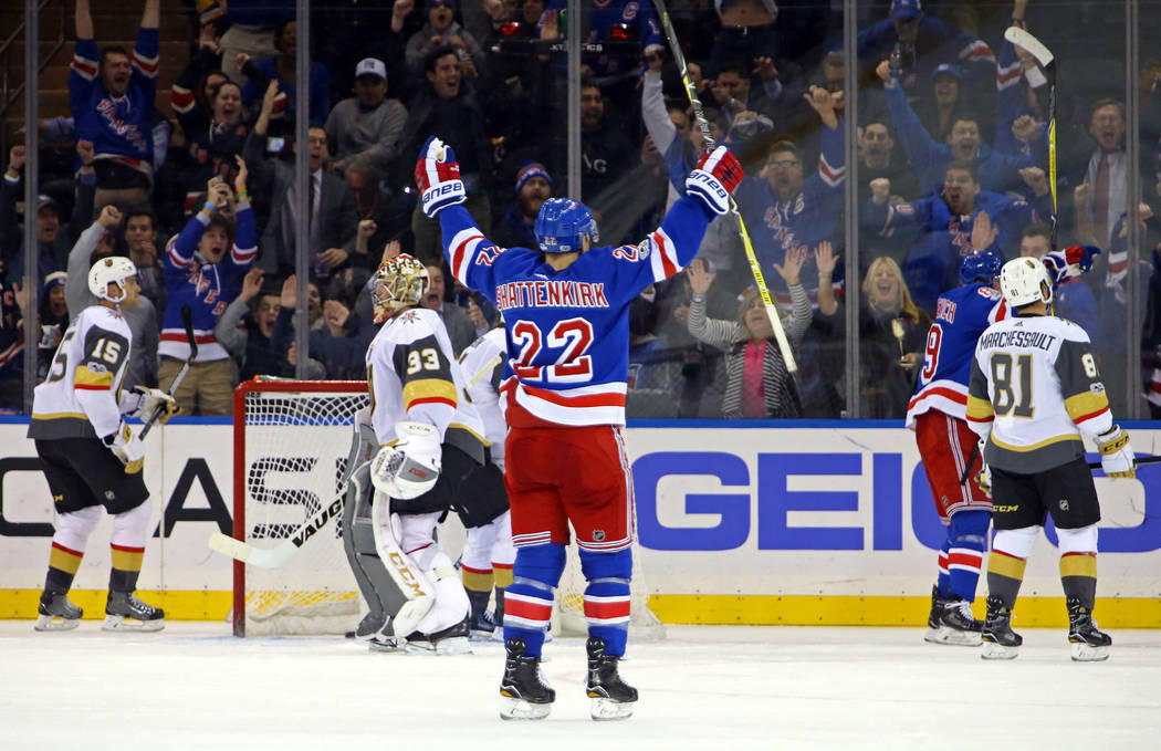 Oct 31, 2017; New York, NY, USA; New York Rangers defenseman Kevin Shattenkirk (22) celebrates a goal by New York Rangers right wing Pavel Buchnevich (89) against the Vegas Golden Knights during t ...