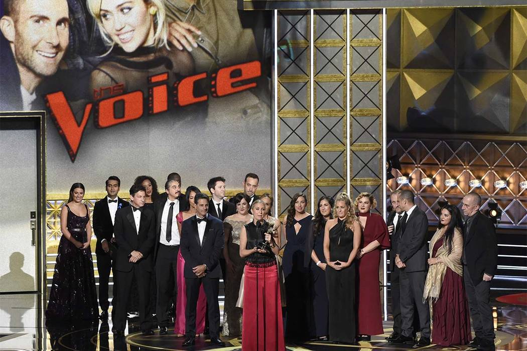 """Audrey Morrissey accepts the award for outstanding reality-competition program for """"The Voice"""" at the 69th Primetime Emmy Awards on Sunday, Sept. 17, 2017, at the Microsoft Theat ..."""
