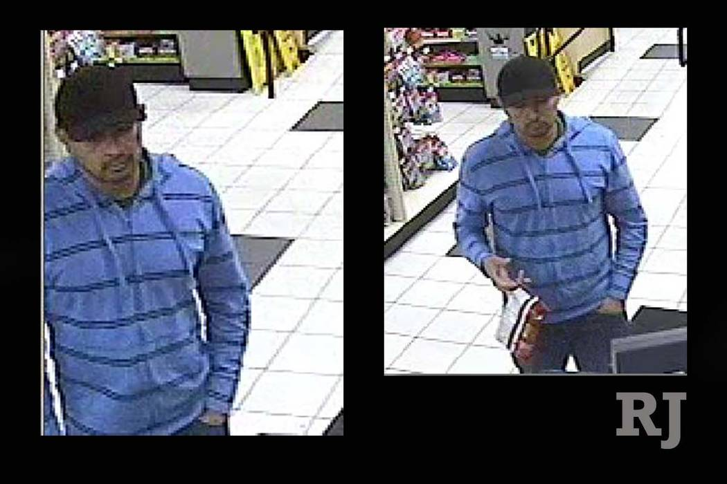 Las Vegas police released these photos of a robbery suspect who pulled a gun on a cashier at a convenience store near Flamingo Road and Valley View Boulevard on October 1.