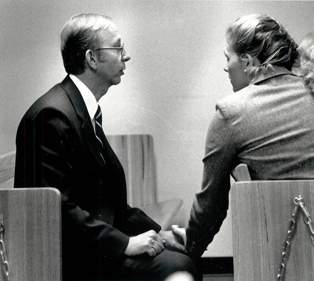 Howard Lee Haupt speaks with his fiancee before jury selection on Jan. 9, 1989. Haupt was charged with murder in the 1987 death of 7-year-old Alexander Harris. A jury acquitted him. Las Vegas Revi ...