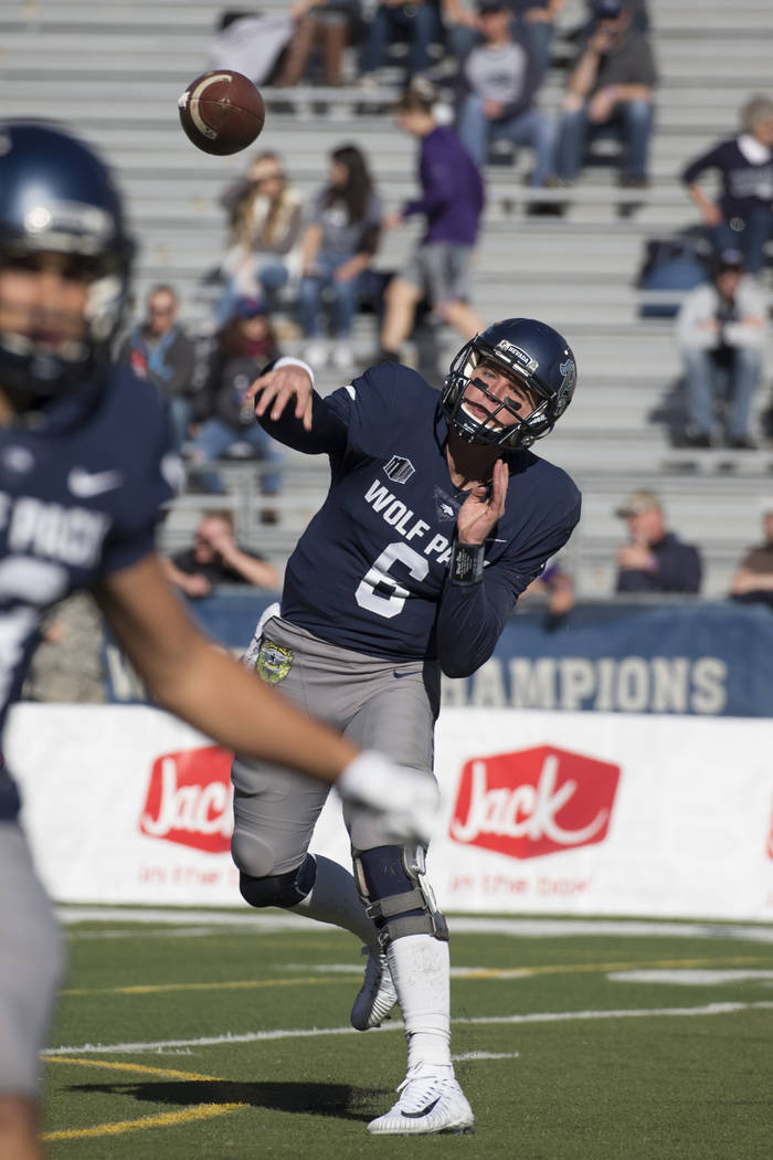 Nevada quarterback Ty Gangi (6) throws a pass against San Jose State in the first half of an NCAA college football game in Reno, Nev., Saturday, Nov. 11, 2017. (AP Photo/Tom R. Smedes)