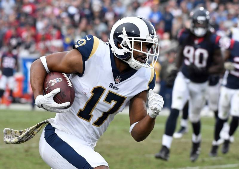 Nov 12, 2017; Los Angeles, CA, USA; Los Angeles Rams wide receiver Sammy Watkins (12) runs to the end zone on his way to a 17 yard touchdown in the third quarter against the Houston Texans at Los  ...