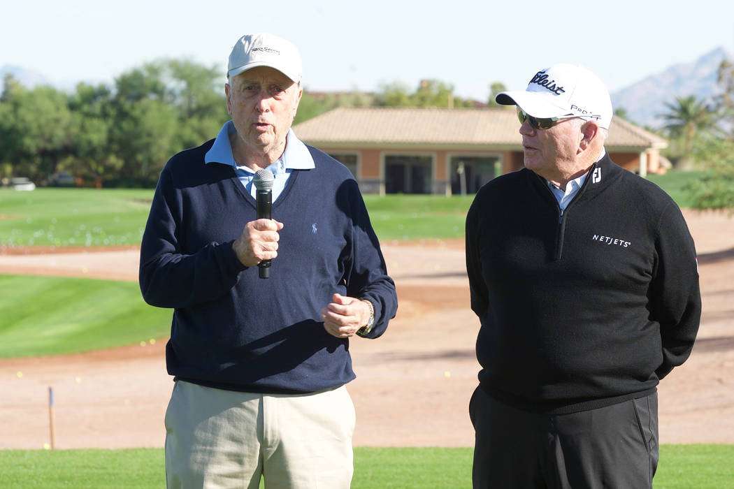 Hall of Fame architect Rees Jones, left, talks with Butch Harmon, the world's top golf instructor as voted by his peers in Golf Digest, at the VIP grand reopening of Rio Secco Golf Club in Henders ...